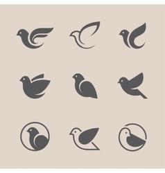 Black bird icons set vector