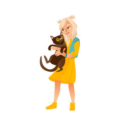 blond teenage girl standing and holding black cat vector image vector image