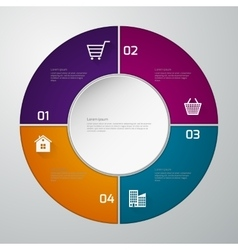 infographics four paper circle vector image