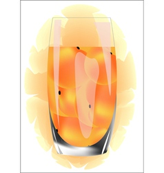 peach juice in a glass on a white background vector image