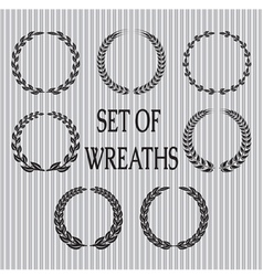 set of wreaths with laurel leaves and spik vector image