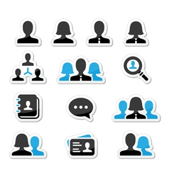 Businessman businesswoman user icons set vector image