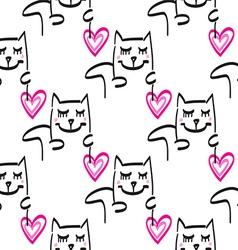 Cat pattern hand drawn vector image