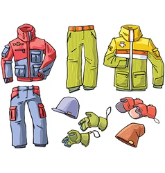 Clothes for Skiing and Snowboarding vector image vector image