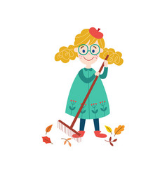 girl collects autumn leaves by rake vector image vector image