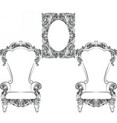 Glamorous rich baroque rococo furniture vector
