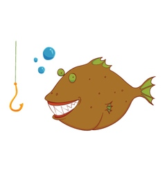 hungry wild fish vector image vector image