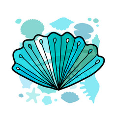 marine background seashell for your design vector image