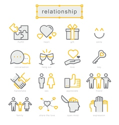 Thin line icons set Relationship vector image vector image