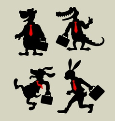 Animal Business Activity Silhouettes vector image vector image
