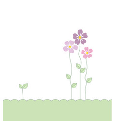 flowers with leaves vector image