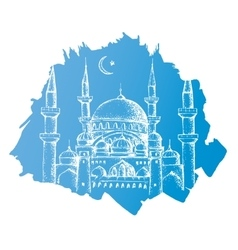 Islamic mosque Blue background vector image