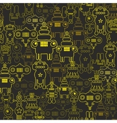 Robot and monsters seamless pattern vector image vector image