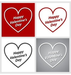 Set of Valentines Day hearts over red grey and vector image vector image