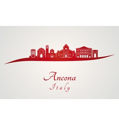 Ancona skyline in red vector image