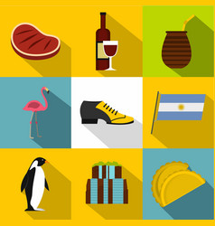 Attraction argentina icon set flat style vector