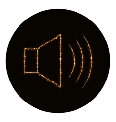 Audio speaker volume icon of gold lights vector image vector image