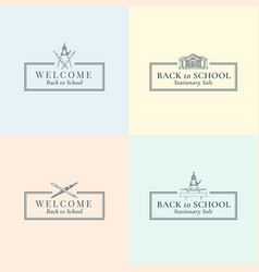 Back to school stationary signs symbols vector