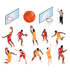 basketball isometric set vector image