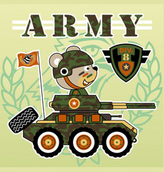 Bear soldier driving armored vehicle kids t vector
