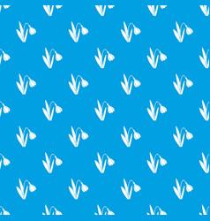 Bell flower pattern seamless blue vector