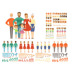 Big family mascot creation set characters father vector