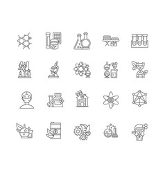 biological research line icons signs set vector image