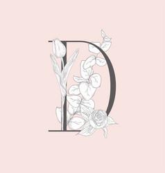 blooming floral elegant d monogram and logo vector image