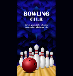 Bowling banner realistic style vector