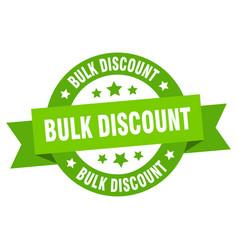 bulk discount ribbon bulk discount round green vector image