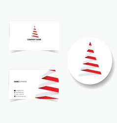 business card with of christmas tree vector image