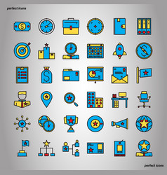 business management color line icons perfect pixel vector image