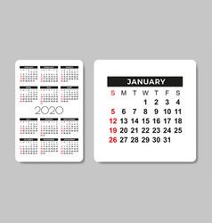 Calendar 2020 design template vector