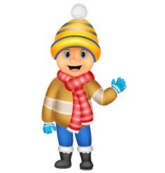 Cartoon a boy in Winter clothes waving vector image