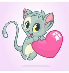 cartoon funny kitty holding a love heart vector image