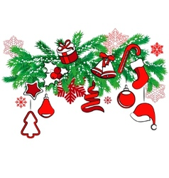 Christmas decoration on tree branch vector