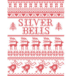 christmas pattern silver bells carol vector image