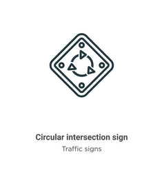 Circular intersection sign outline icon thin line vector