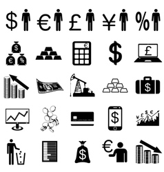 Collection flat icons Finance symbols vector image