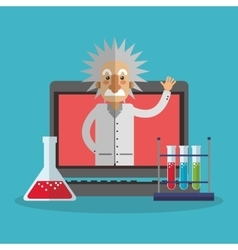 Colorful Einstein and laptop design vector