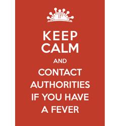 coronavirus poster keep calm and contact vector image