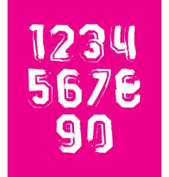 Creative handwritten white numbers set from 0 to vector