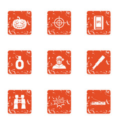 Cross country icons set grunge style vector