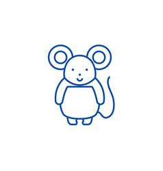 cute mouse line icon concept cute mouse flat vector image