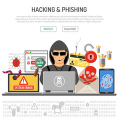 Cyber crime hacking and phishing concept vector