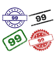 damaged textured 99 seal stamps vector image