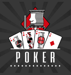deck of card casino poker king diamond black rays vector image