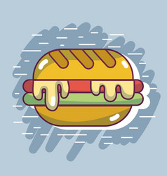 Delicious hamburger fast food with calories vector