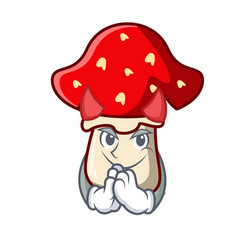 Devil amanita mushroom mascot cartoon vector