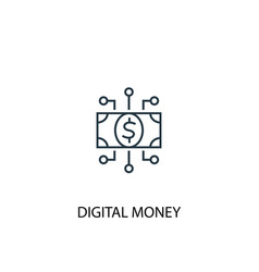 digital money concept line icon simple element vector image